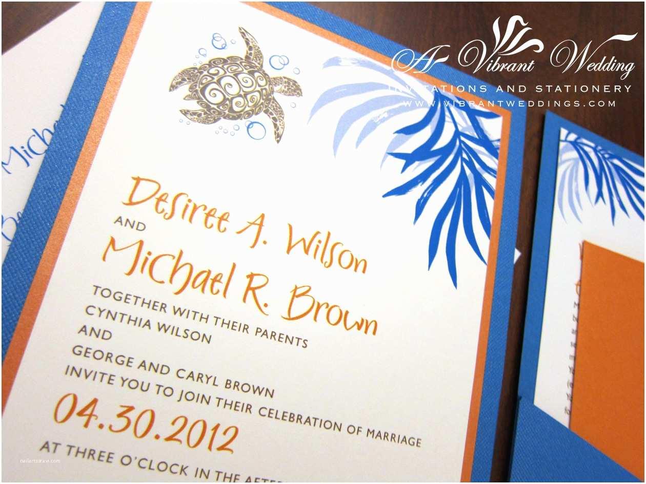 Blue and orange Wedding Invitations Royal Blue and orange Wedding Invitation Various