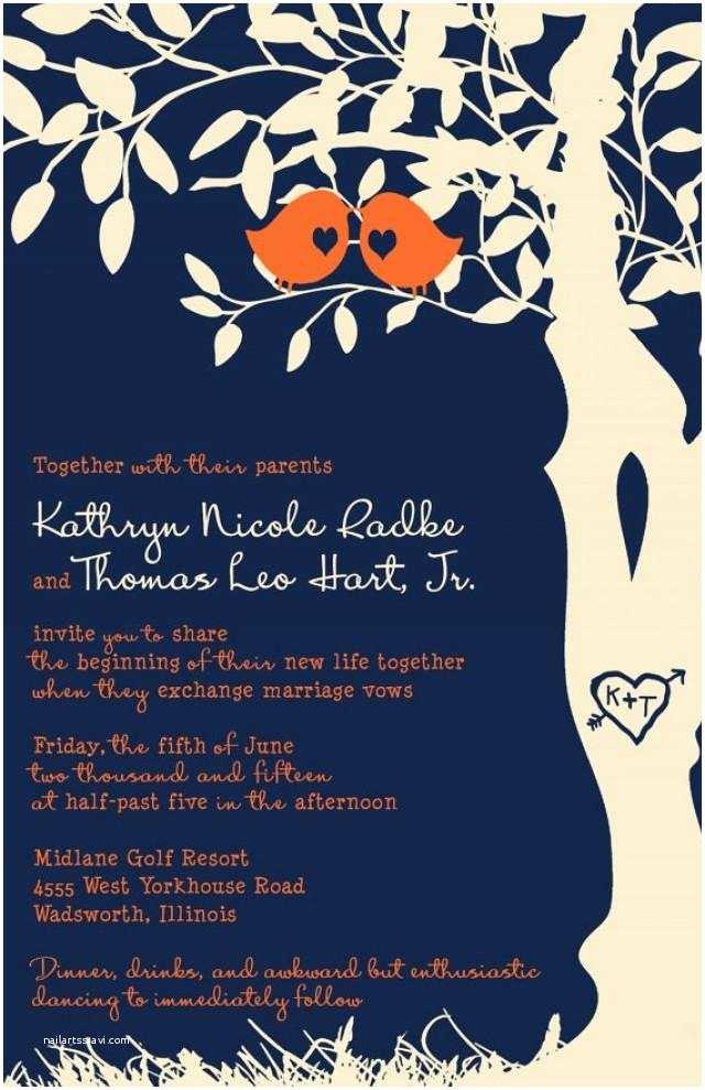 Blue and orange Wedding Invitations Rush Love Bird Wedding Invitations Navy Blue and orange