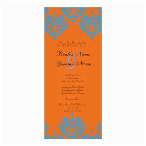 Blue and orange Wedding Invitations Teal Blue and orange Damask Wedding Invitation