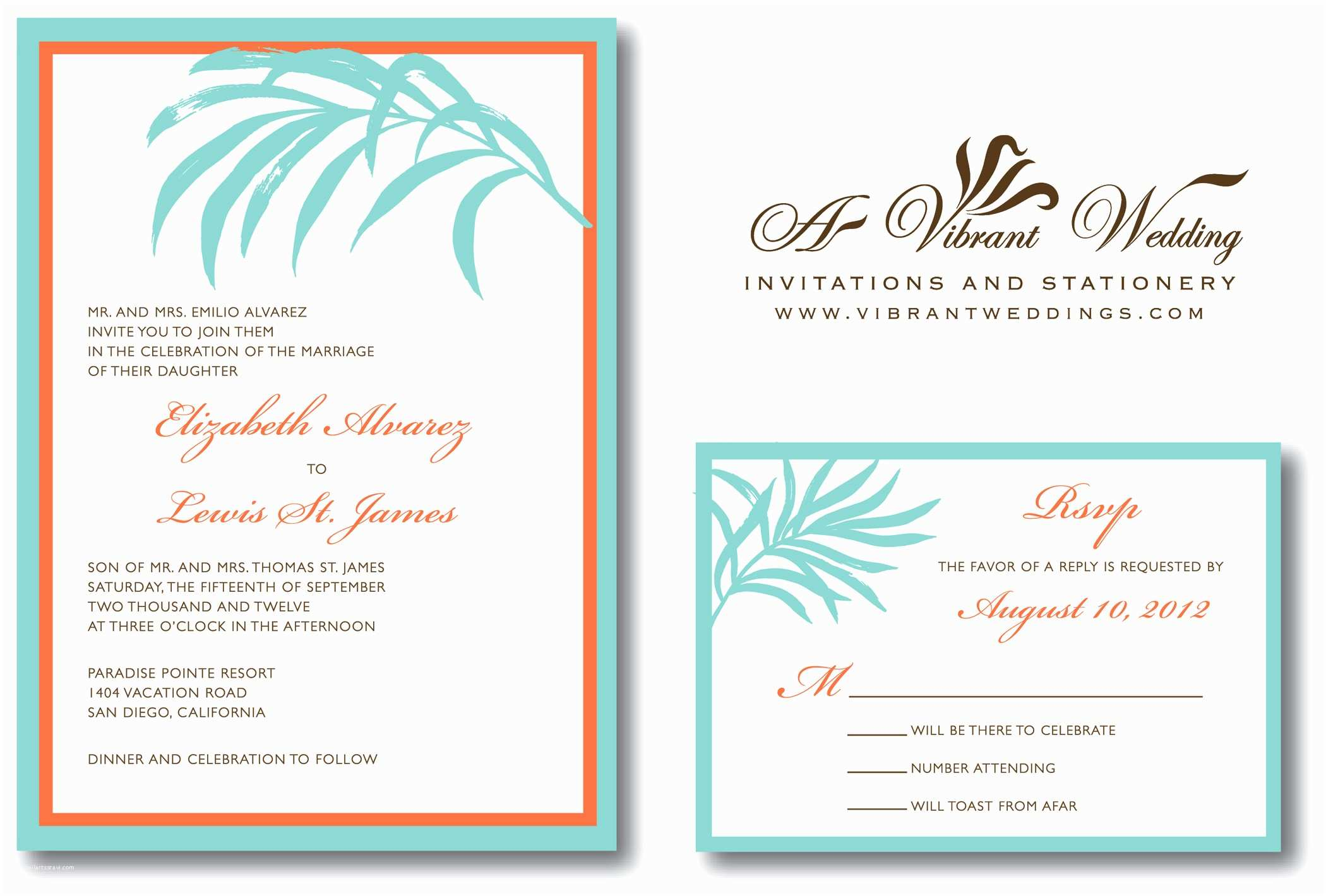 Blue and orange Wedding Invitations Tiffany Blue & orange Wedding Invitation – A Vibrant Wedding