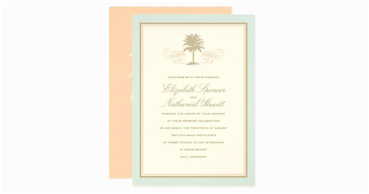 Blue and orange Wedding Invitations Vintage Palms Wedding Invitation Blue & orange