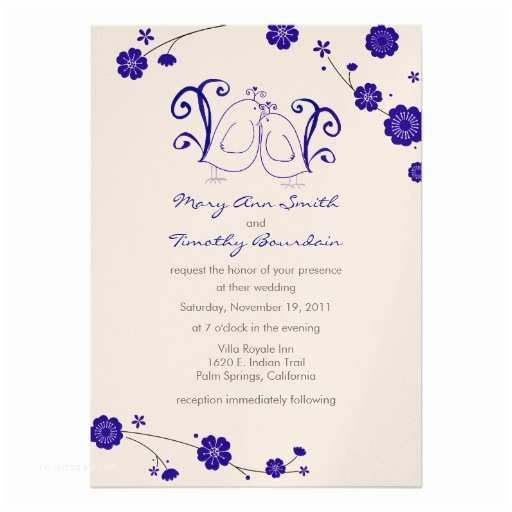 Blue and Silver Wedding Invitations Blue and Silver Lovebirds Wedding Invitation