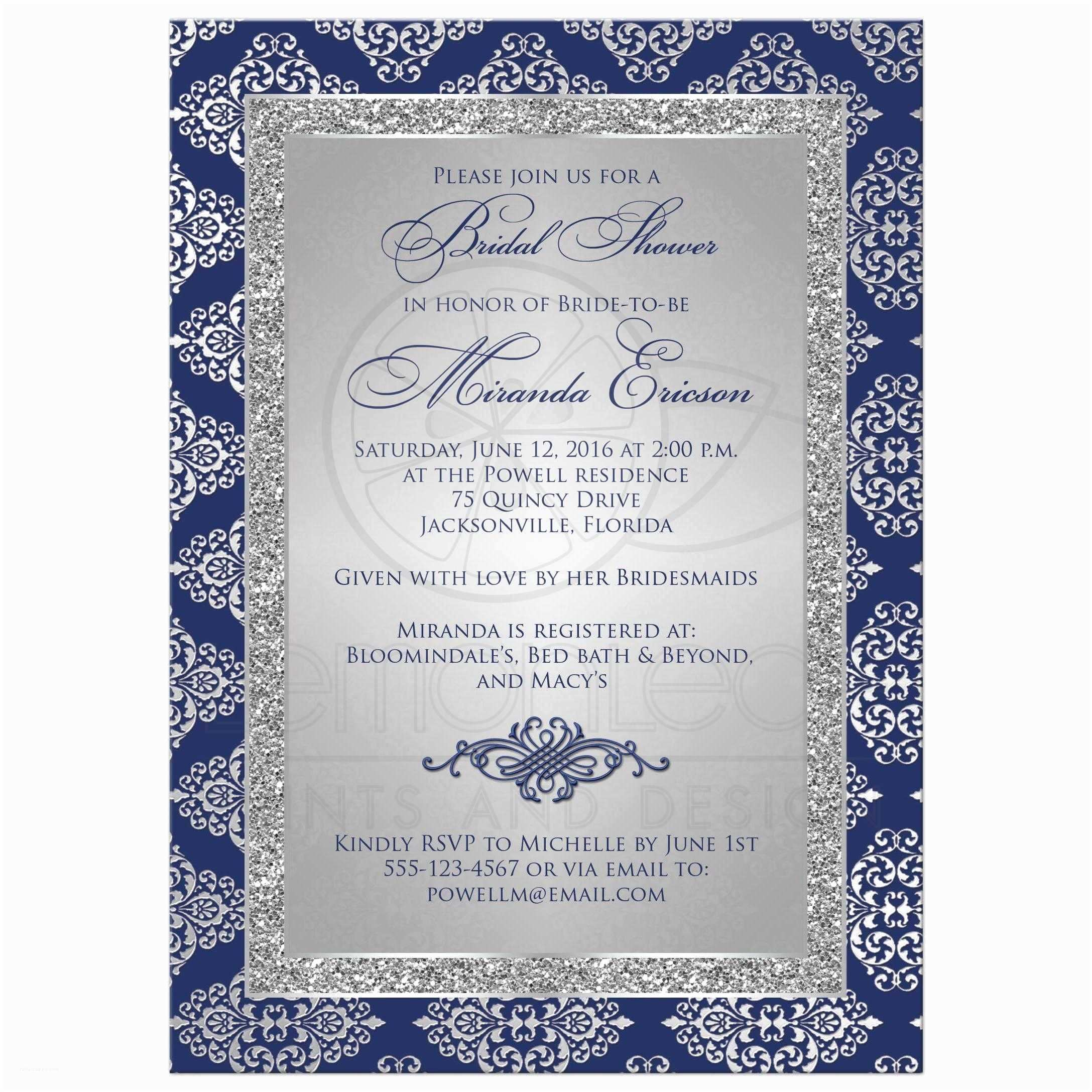 Blue and Silver Wedding Invitations Bridal Shower Invitation