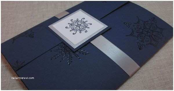 Blue and Silver Wedding Invitations Navy Blue and Silver Snowflake Handcrafted Pocket Fold