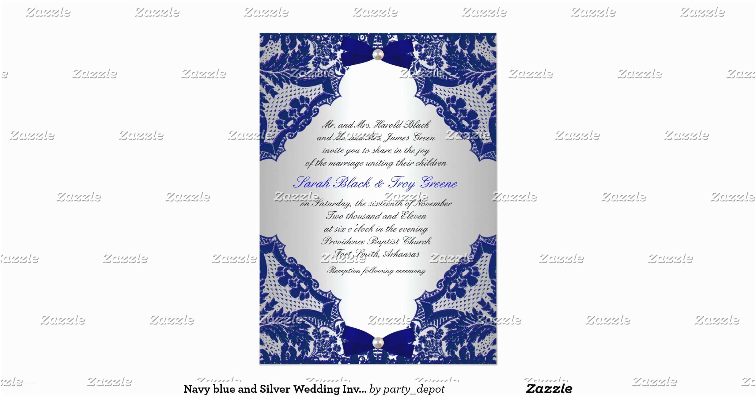 Blue and Silver Wedding Invitations Navy Blue and Silver Wedding Invitation