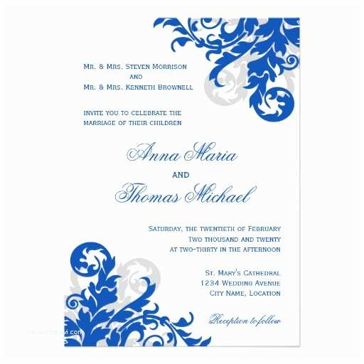 Blue and Silver Wedding Invitations Royal Blue and Silver Flourish Wedding Invitation