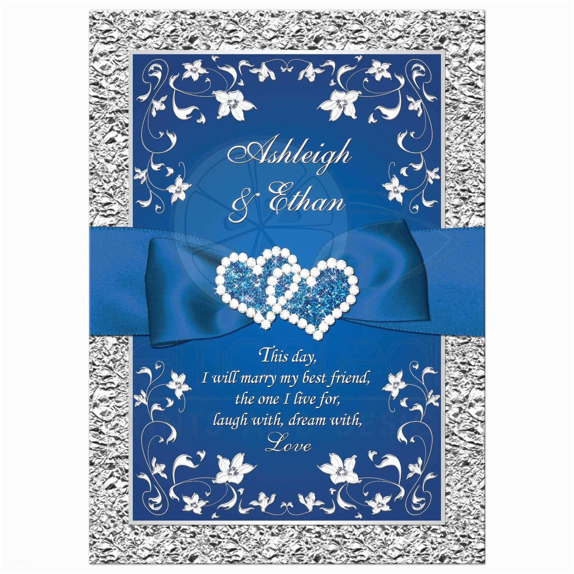Blue and Silver Wedding Invitations Royal Blue Wedding Invitation