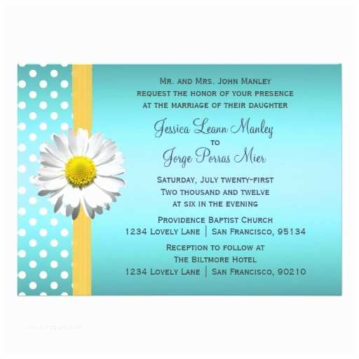 Blue and Yellow Wedding Invitations Blue and Yellow Daisy Wedding Invitation
