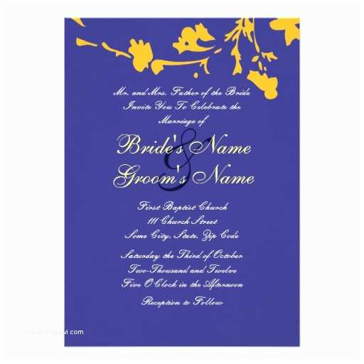 Blue and Yellow Wedding Invitations Blue and Yellow Floral Wedding Invitation