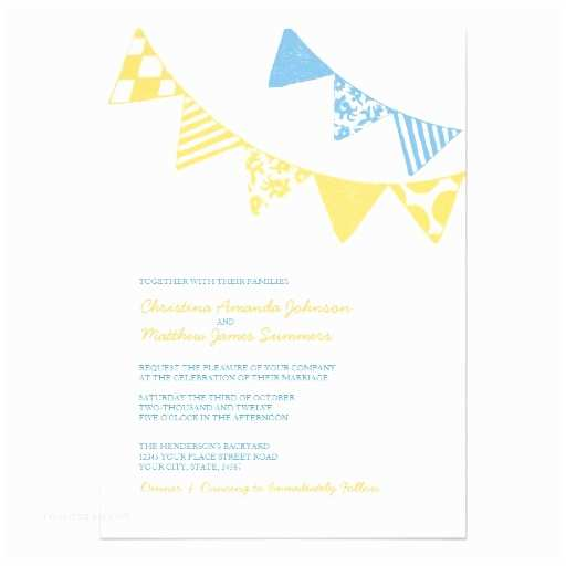 Blue and Yellow Wedding Invitations Blue and Yellow Fun Flags Wedding Invitations