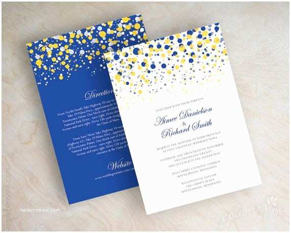 Blue and Yellow Wedding Invitations Blue and Yellow Gold Polka Dot Wedding Invitation