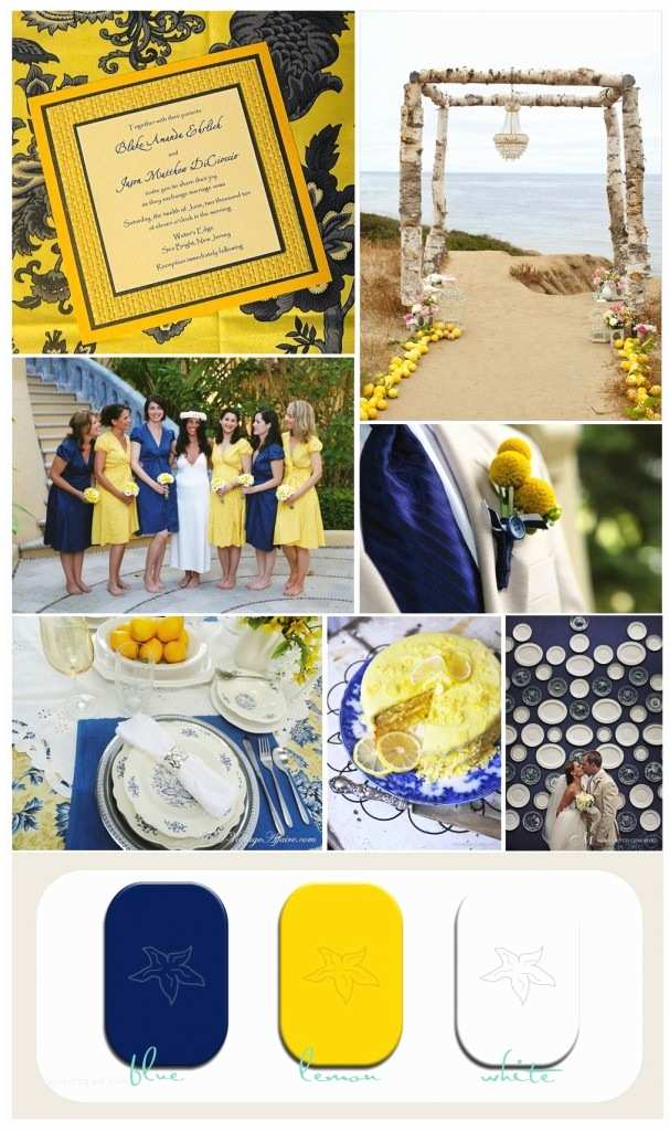 Blue and Yellow Wedding Invitations Couture Beach Invitations by Moore Creative