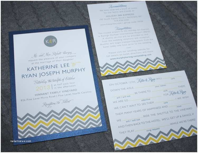 Blue and Yellow Wedding Invitations Gray Yellow & Blue Chevron & Monogram Wedding Invitations