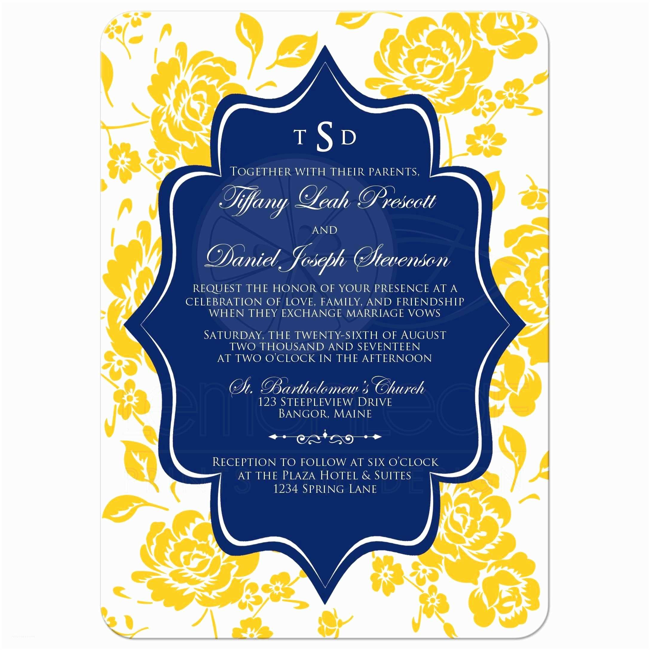Blue and Yellow Wedding Invitations Monogrammed Wedding Invitation