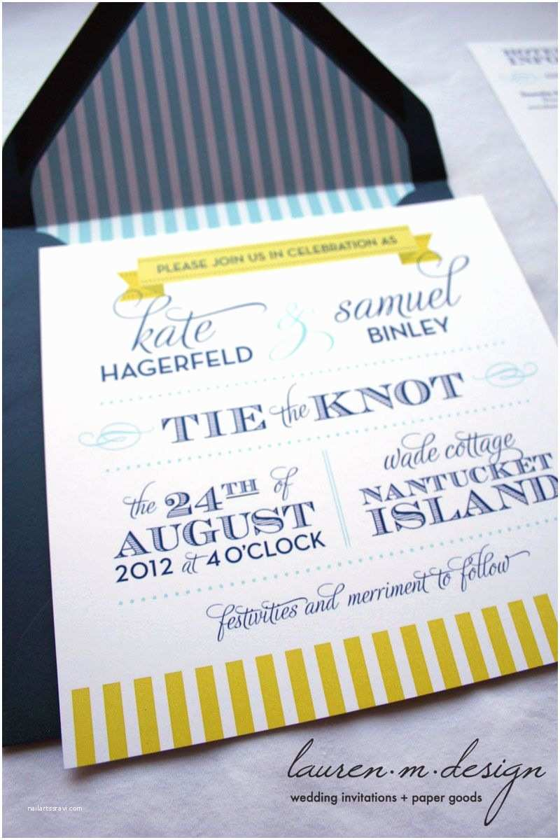 Blue and Yellow Wedding Invitations Nautical Wedding Invitation Suite Sample In Blue and
