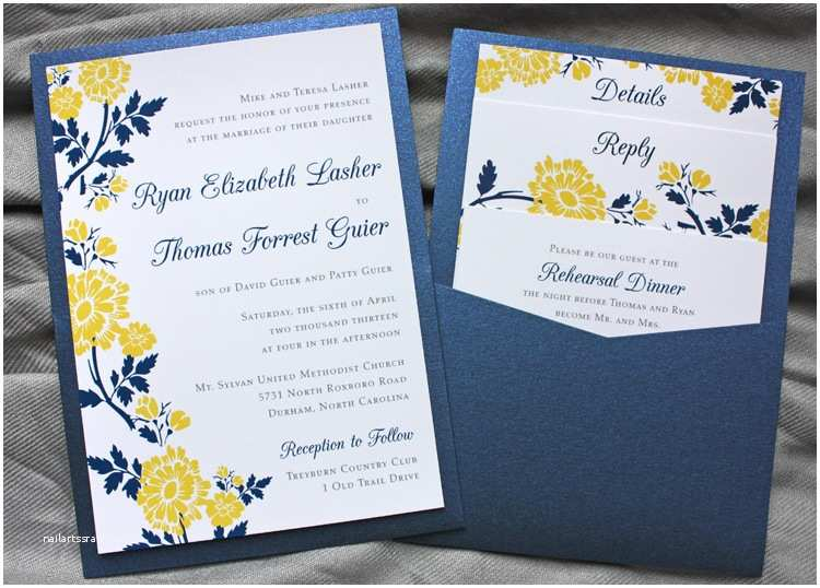 Blue and Yellow Wedding Invitations Navy Blue & Yellow Spring Flower Clutch Pocket Invitations