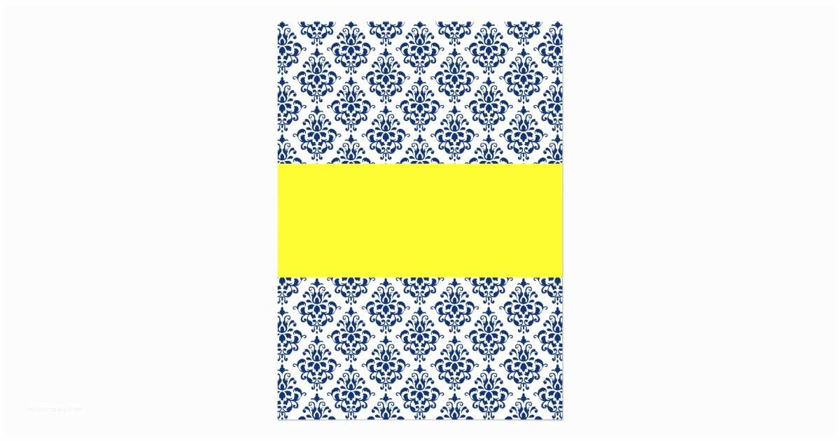 Blue and Yellow Wedding Invitations Navy Blue and Yellow Damask Wedding Invitations