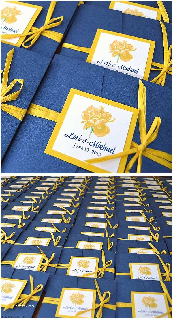 Blue and Yellow Wedding Invitations Navy Blue and Yellow Watercolor Wedding Invitations