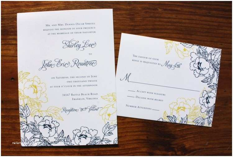 Blue and Yellow Wedding Invitations Navy Blue Yellow & White Peony Wedding Invitations