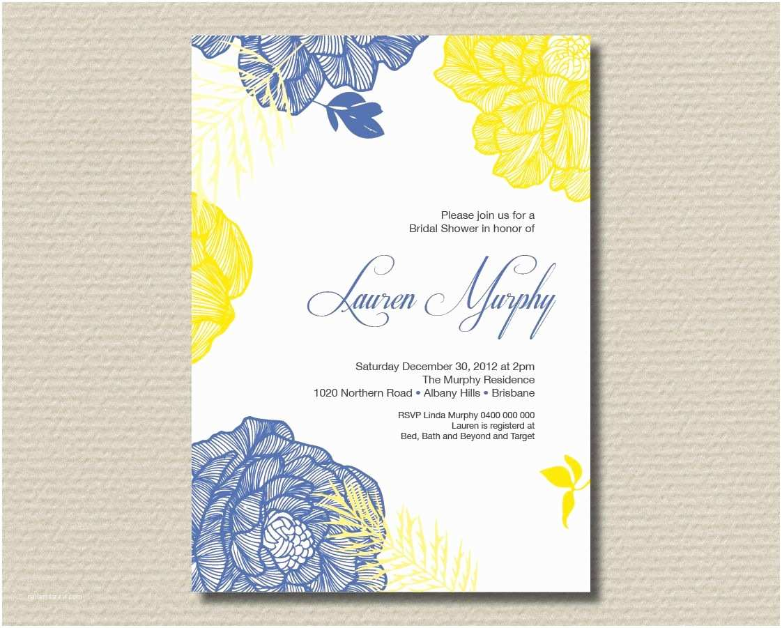 Blue and Yellow Wedding Invitations Printable Bridal Shower Invitation Royal Blue and Yellow