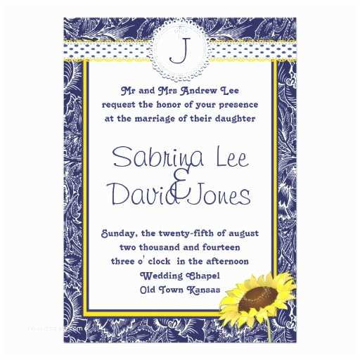 Blue and Yellow Wedding Invitations Royal Blue and Yellow Sunflower Wedding Invitation