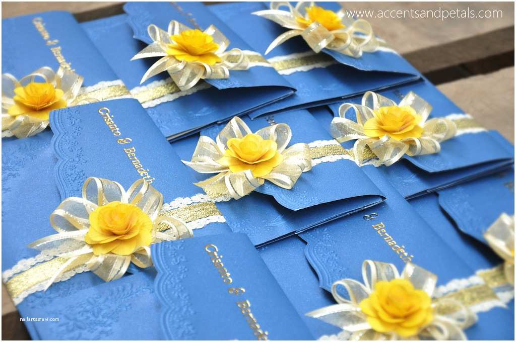 Blue and Yellow Wedding Invitations Royal Blue and Yellow Wedding Invitation