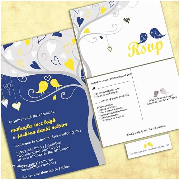 Blue and Yellow Wedding Invitations Shopping by Color Navy Blue Yellow Invitations and