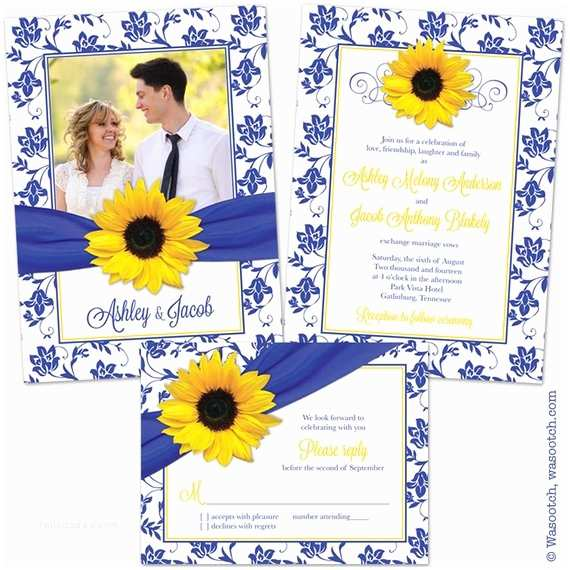 Blue and Yellow Wedding Invitations Sunflower Royal Blue Yellow Damask Floral Ribbon Wedding