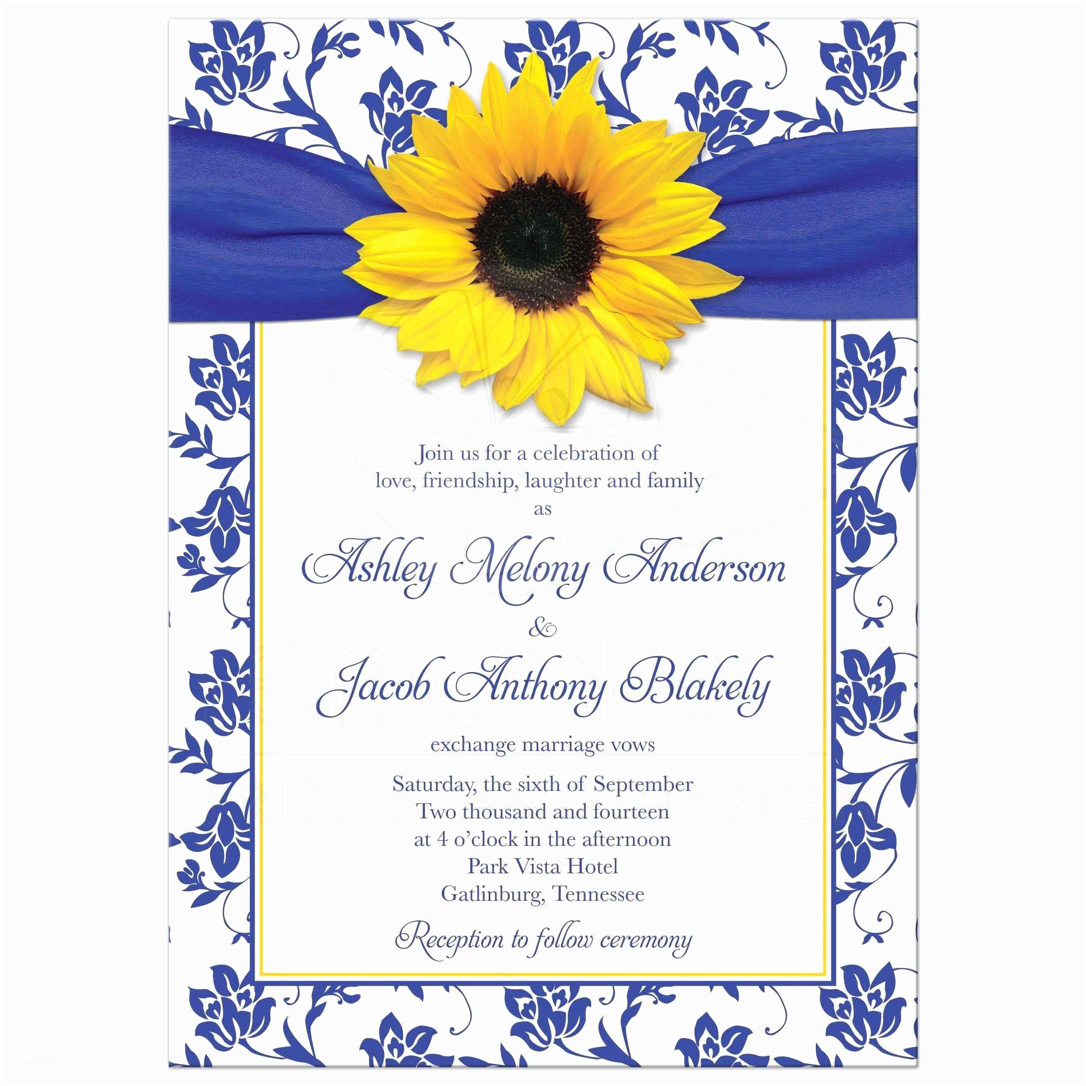 Blue and Yellow Wedding Invitations Wedding Invitation