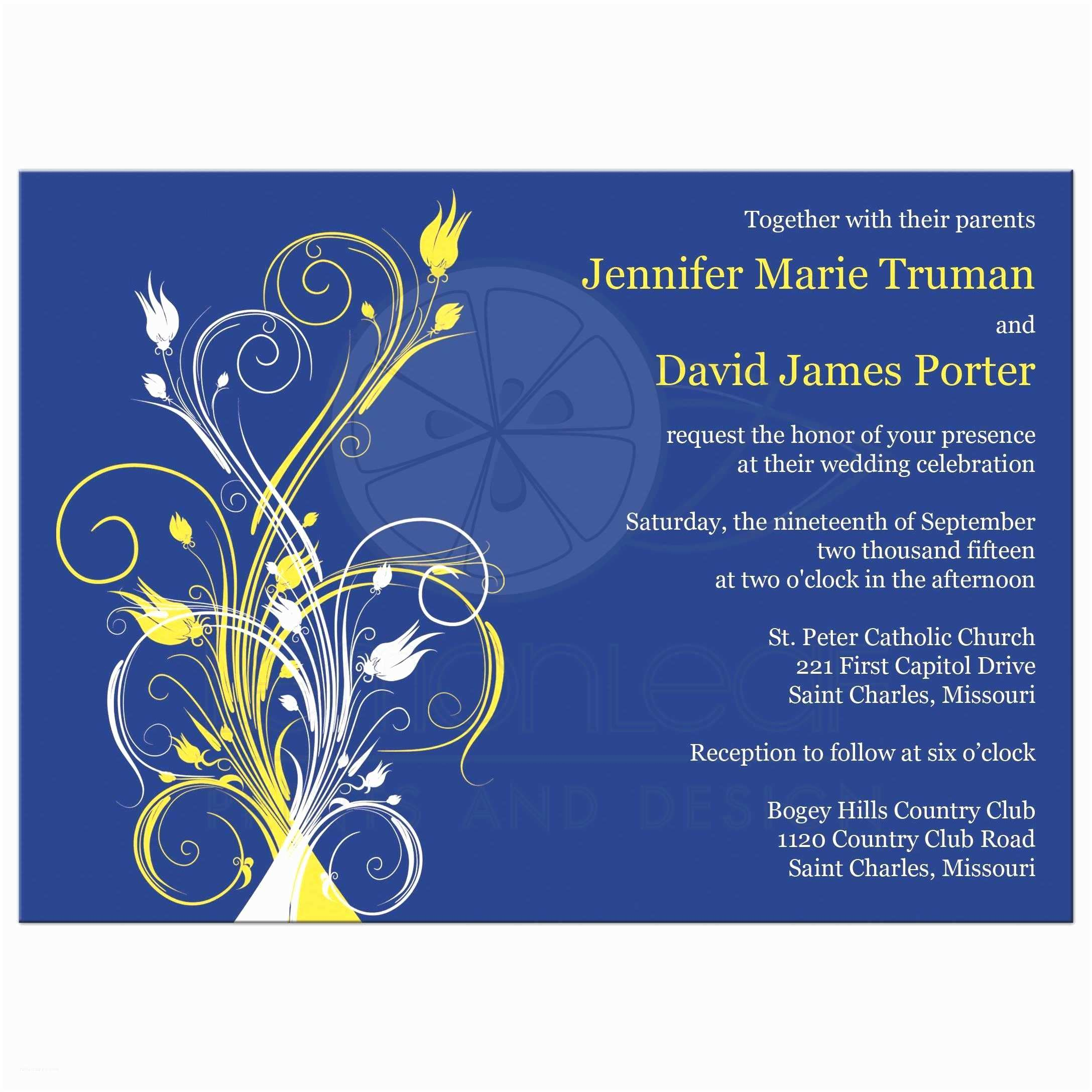Blue and Yellow Wedding Invitations Wedding Invitation Royal Blue and Yellow Matik for