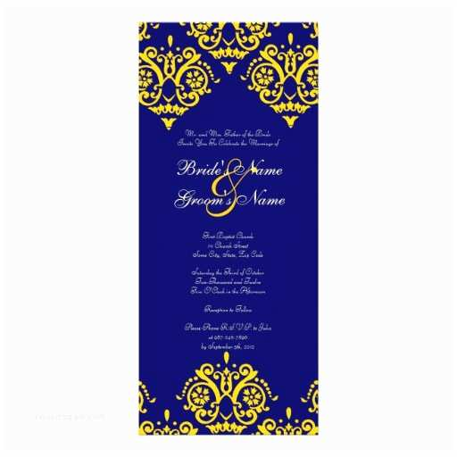 Blue and Yellow Wedding Invitations Yellow and Blue Damask Wedding Invitation