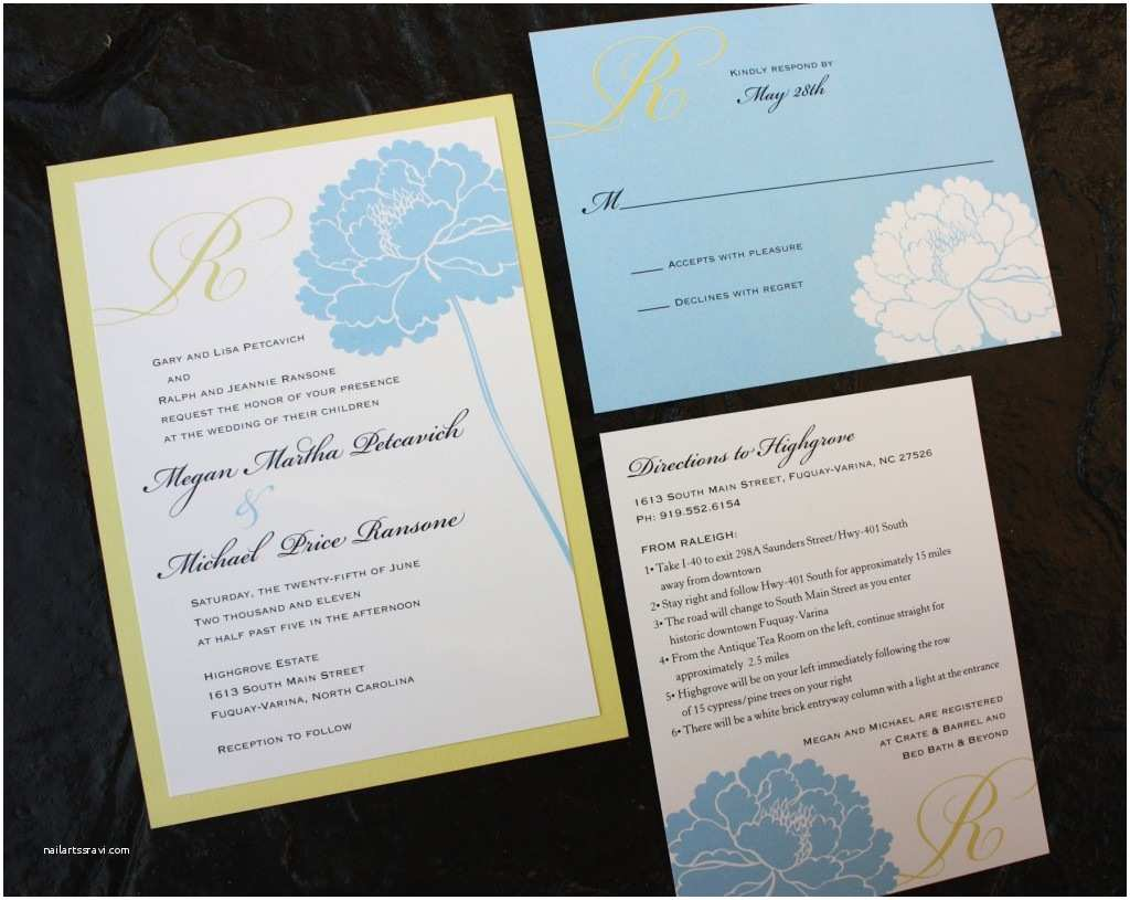 Blue and Yellow Wedding Invitations Yellow and Blue Wedding Invitation Aqua Blue and Yellow