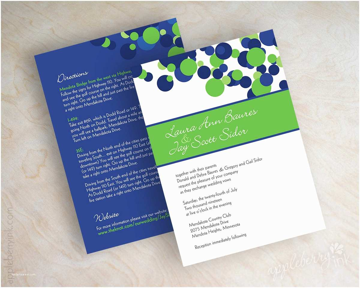 Blue Wedding Invitations Blue and Green Wedding Invitations Polka Dot Wedding
