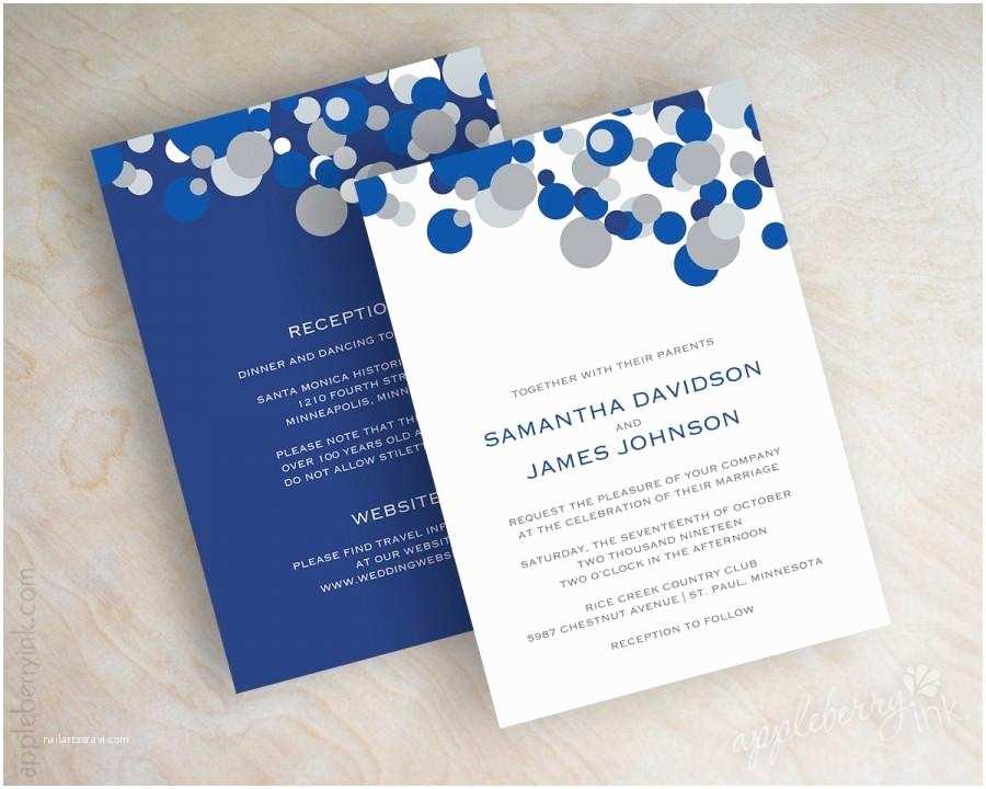 Blue Wedding Invitations Blue and Silver Polka Dot Wedding Invitations Sapphire