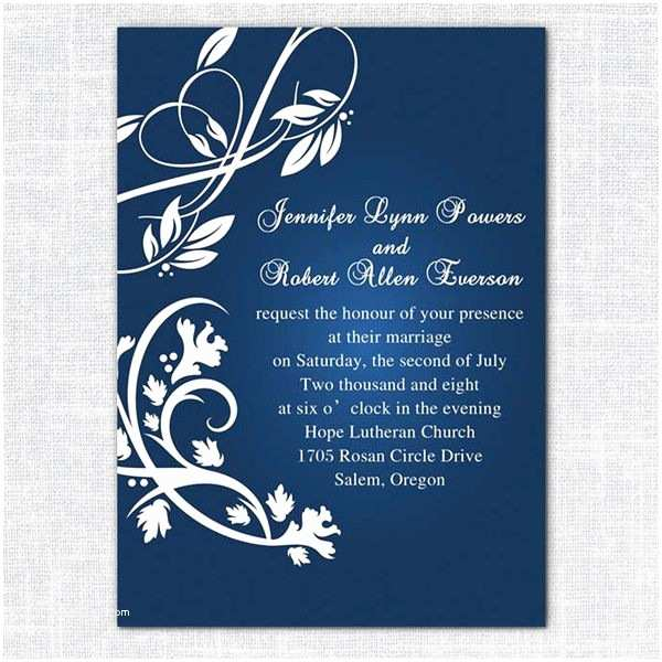 Blue Wedding Invitations Blue and Silver Wedding Invitations Templates