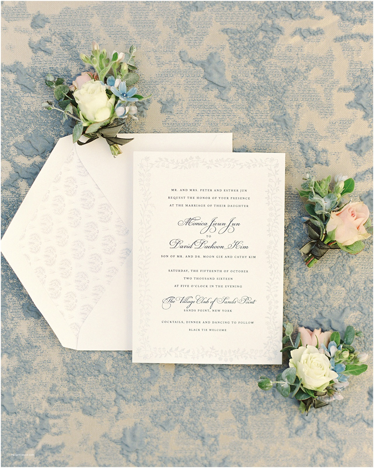 Blue Wedding Invitations Classic and Romantic Dusty Blue Wedding Invitations