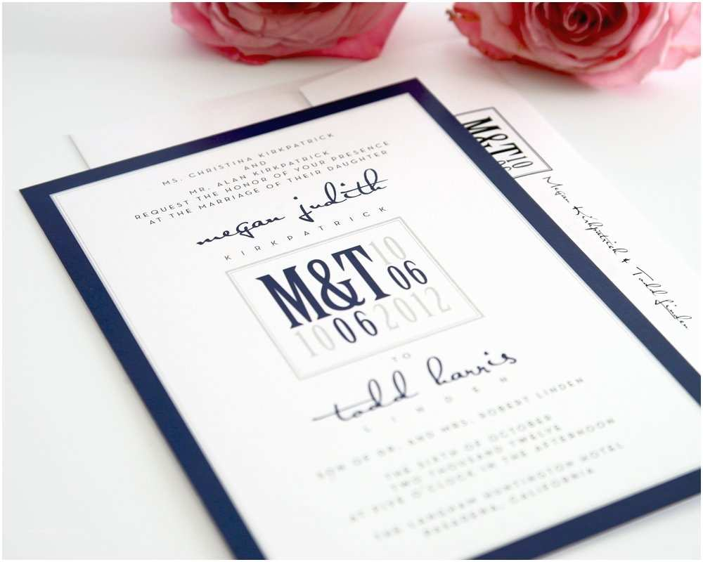 Blue Wedding Invitations Modern Wedding Invitations In Navy Blue and Gray – Wedding