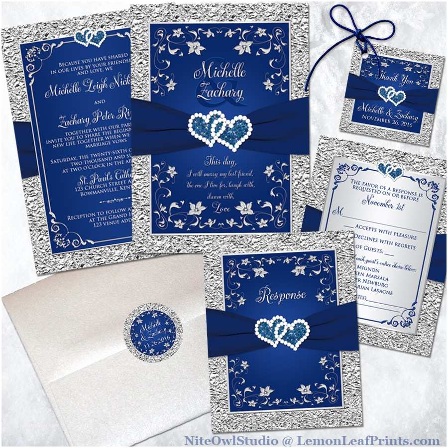wedding invitation set navy blue silver joined hearts jewel