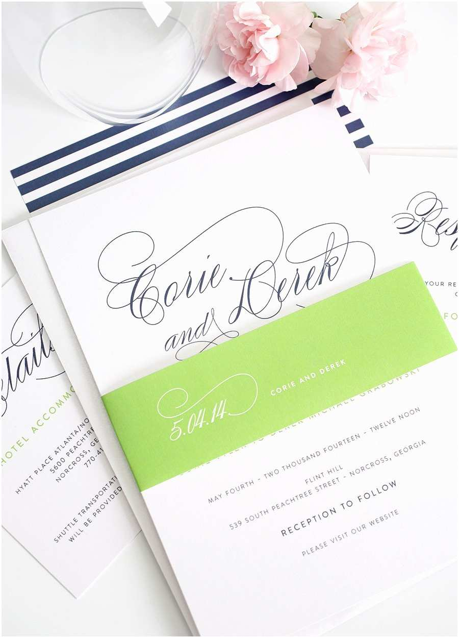Blue Wedding Invitations Navy Blue Wedding Invitations with Script Names and Green