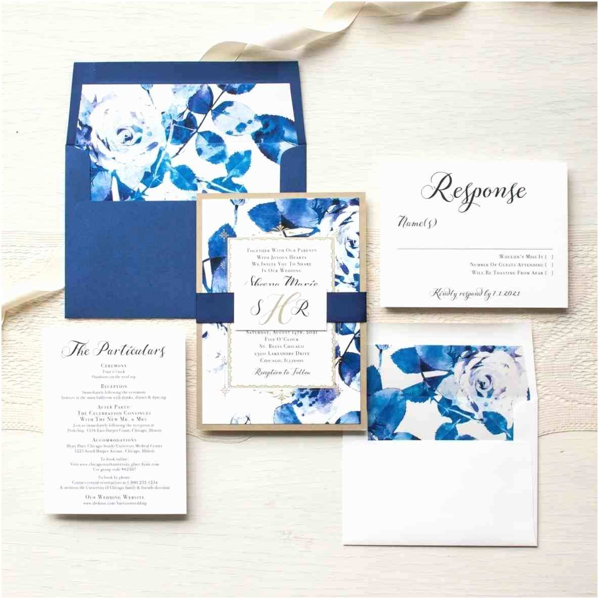 Blue Wedding Invitations Royal Blue and Gold Wedding Invitations