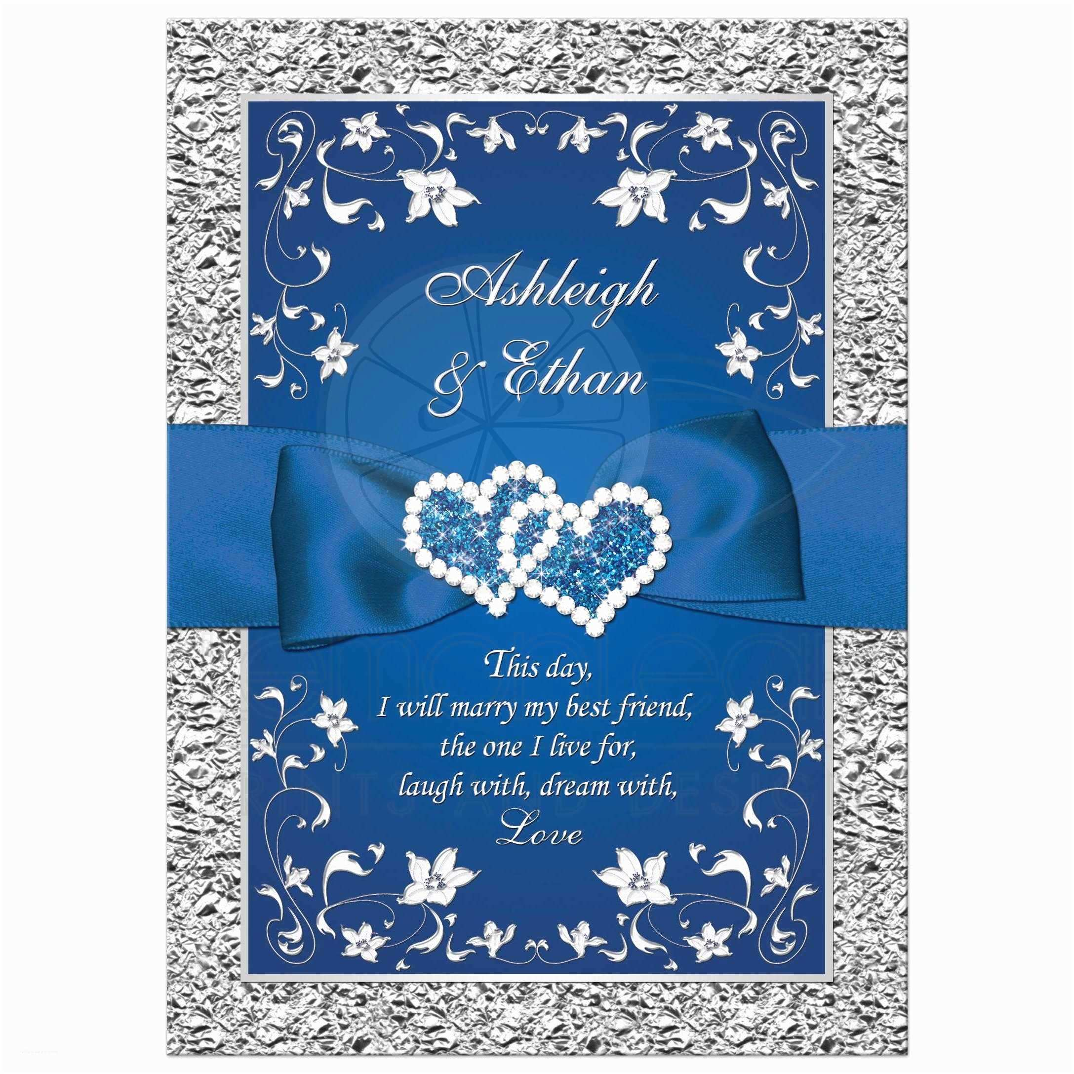 Blue Wedding Invitations Royal Blue Wedding Invitation