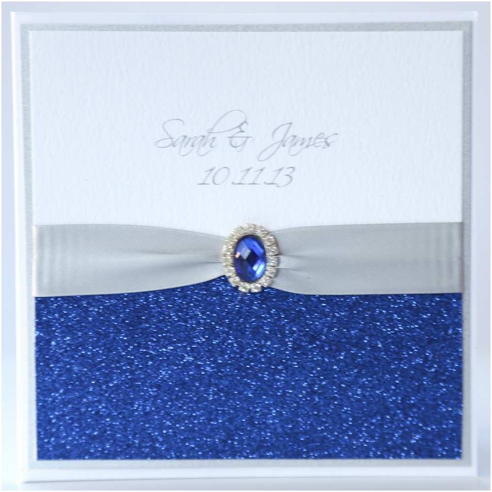 Blue Wedding Invitations Silver & Royal Blue Glitter Pocket Wedding Invitation