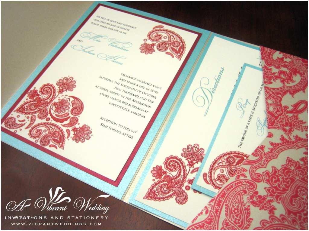 Blue Wedding Invitations Tiffany Blue and Red Wedding Invitation – Pocketfold Style