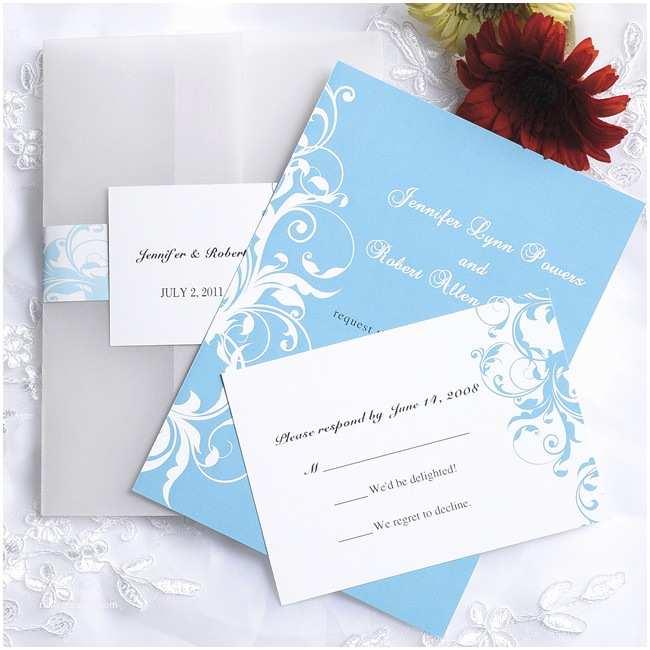 Blue Wedding Invitations Vintage Light Blue Damask Pocket Wedding Invitations