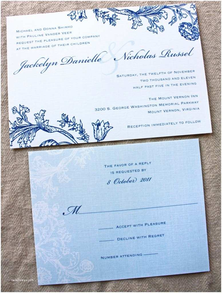 Blue Wedding Invitations Vintage Navy & Pale Slate Blue Floral Wedding Invitations