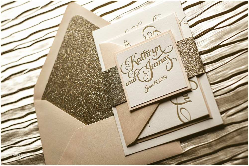 Blush and Gold Wedding Invitations Blush & Gold Glitter Letterpress Wedding Invitation Gold