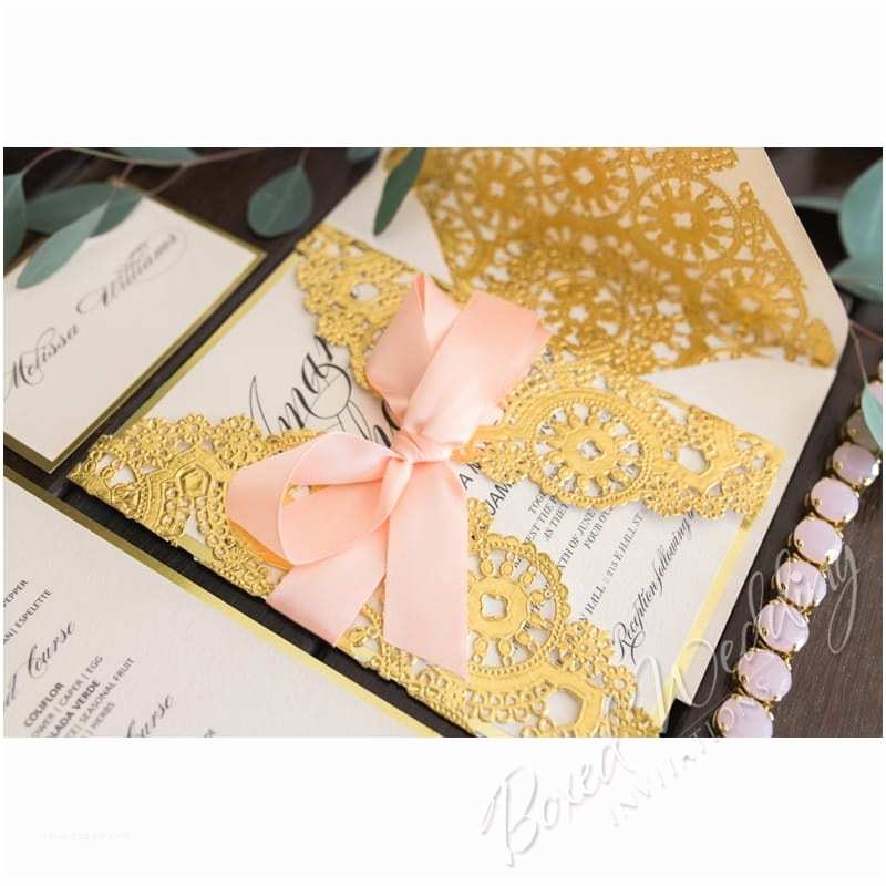 Blush and Gold Wedding Invitations Blush and Gold Foil Die Cut Lace Laser Cut Luxury Wedding