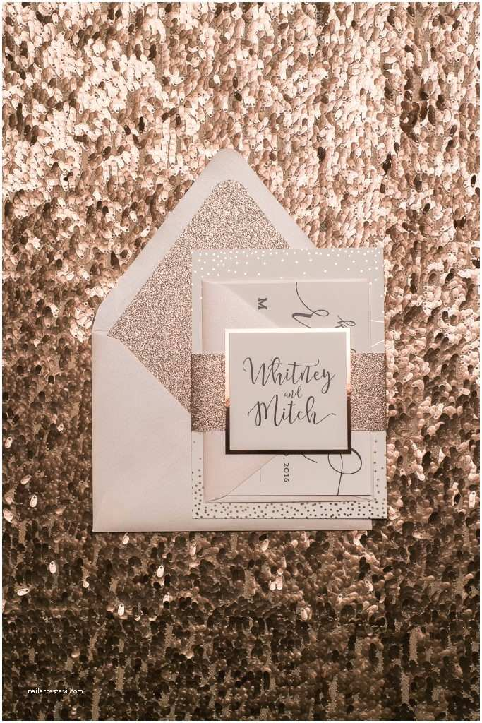 Blush and Gold Wedding Invitations Blush and Rose Gold Glitter Wedding Invitations with Foil