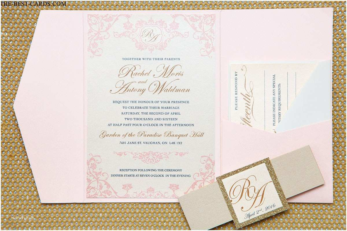 Blush and Gold Wedding Invitations Blush Celebration Wedding Invitation Blush Pink and Gold