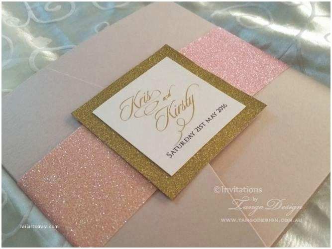 Blush and Gold Wedding Invitations Blush Gold Wedding Invitation Set Glitter Wedding